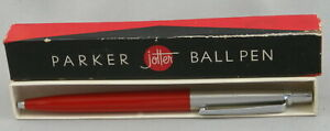 Parker Jotter Red & Stainless Steel Ballpoint Pen In Box - Ridge Clip - 1959 USA
