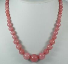 6-14mm Pink Rhodochrosite Round Bead Gemstone Jewelry Necklace JN86
