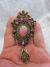 Sara Coventry Pin/Pendent w Cats Eye & Clear Rhinestones (965)