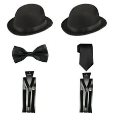 Laurel & Hardy Vintage Black Bowler Hat Bow Tie Fancy Dress Accessories 3Pcs Set