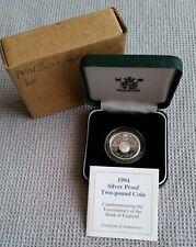 1994 Regno Unito Due Pound Argento Proof, Uovo del Tricentenario dei Bank of England COA/PARALLELEPIPEDO/esterno