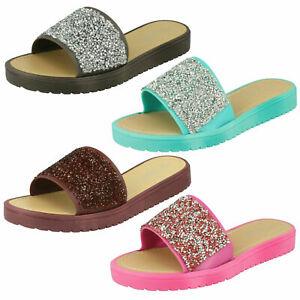 SALE Ladies Savannah Collection Slip On Glitter Mule Summer Sandals F0R832
