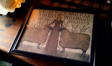 PRiMiTiVE FarmHouse Girl w/ Sheep & Proverbs Verse Print Picture Only U Frame