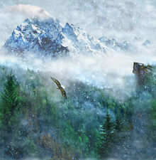 Hoffman Call of the Wild LONE EAGLE Scenic Forest Mountains Fabric 43 Inch Panel