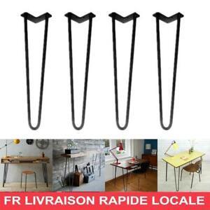 """4PC Pieds De Table Chaise Meuble Épingle À Cheveux Acier 30cm/12"""" Jambes 2 Barre"""