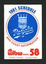 Kansas City Royals--1981 Pocket Schedule--WIBW