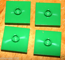 LEGO 4x Green Plate 2 x 2 with Groove and 1 Stud in Center (Jumper )87580