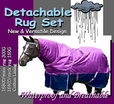 """COMFORT VERSATILE DETACHABLE 6'3"""" WINTER  PADDOCK HORSE RUG SET(p)"""