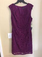 NEW ADRIANNA PAPELL Split neck side Drape lace Dress Sz 12 $140 Purple Beautiful