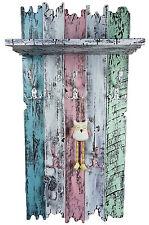 Handmade Echtholz Garderobe im Shabby Chic Used Look rosa blau weiß türkis
