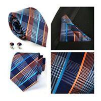Blue Tie and Pocket Square Set Orange Striped Patterned Handmade 100% Silk