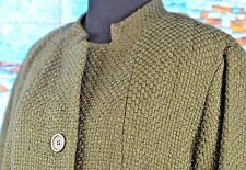 Eileen Fisher Blazer Three Button Wool Blend Size Medium Hunter Green Career