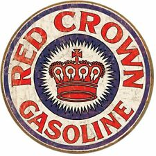 Red Crown Gas Distressed Round Tin Sign 12 x 12in