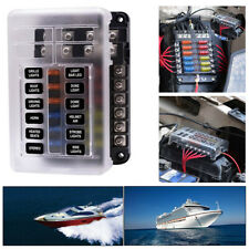 12-Way LED Indicator Waterproof Blade Fuse Box Holder Block ATC ATO