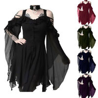 Women's Solid Dark In Love Ruffle Sleeves Off Shoulder Gothic Midi Solid Dress S