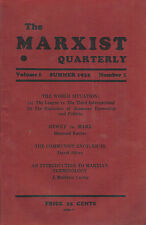 The Marxist Quarterly Volume 1 Summer 1932 Number 1