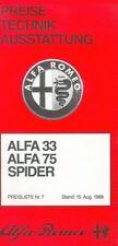 ALFA ROMEO LISTINO PREZZI 15.8.83 33 ALFASUD TI SPRINT GTV 1983 price list AUTO AUTOMOBILI