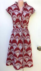 GLOBAL MAMAS *Fair Trade* Cotton Hand Block Print Pleat A-Line Belted Dress sz S