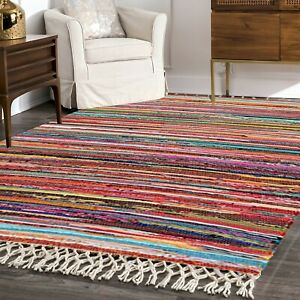 Homemade Handmade 100% Recycled Indian Chindi Rug for Living Room Bedroom Decor