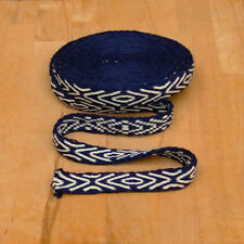 Mittelalter LARP Reenactment Handgewebte Brettchenborte Wolle blau-natur Borte