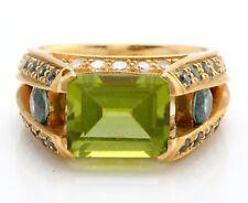 4.23 Quilate Verde Natural Peridoto Topacio & Diamonds en 18k Oro Amarillo Dama