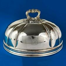 """WILLIAM IV OLD SHEFFIELD PLATE Crested SERVING DISH DOME COVER c1830 11 3/4"""""""