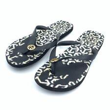 Tory Burch Womens Flip-Flops Sandals Black White Logo Slip On Shoes US 7.5