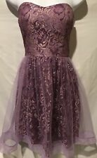 MINUET Strapless Organza Mesh Party Dress Fit Flare Gold Purple Padded Sz 4 S