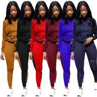 Women Casual 2 Piece Ripped Cut Tracksuit Bodycon Jogger Pants Set Hoodie