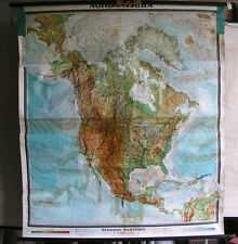 Scheda crocifissi America del nord usa canada 155x172cm ~ 1960 VINTAGE Wall Map CARD