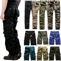 Mens Military Army Combat Camo Pants Casual Tactical Work Cargo Shorts Trousers