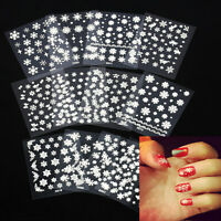 12 Sheet Christmas Style Snowflake Nail Art Sticker Decal Tips Decoration new