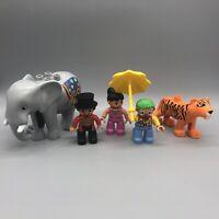 5 LEGO Duplo Circus Figures:  Elephant, Tiger,  Clown,  Ringmaster, Trapeze Girl