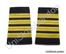 More details for epaulet pilot epaulette sliders 4 gold mylar bars captain navy blue cloth r1301