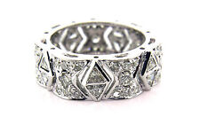 3.01 CT Natural Round & Triangle Cut Diamond Eternity Band VS1/G 14K White Gold