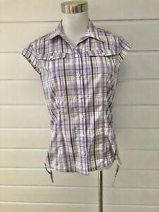 KATHMANDU Womens Purple Grey White Plaid Short Sleeve Button Down Shirt - 10
