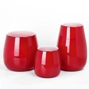 Lambert Pisano   Glas Vase col.rot Gr. S    h=18cm, d=17cm NEU