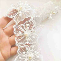 1 Yard Embroidered Lace Trim Beaded Wedding Dress Clothing Sewing Fringe DIY