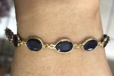 14k Solid Yellow Gold Tennis Bracelet W/ Natural Sapphire Oval Cut 5.56GM 9.67CT