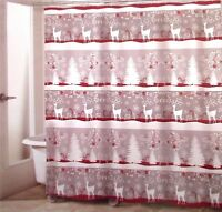 Avanti Linens CHRISTMAS DEER Fabric Shower Curtain Cottage Red Silver Gray New