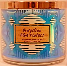 BATH BODY WORKS BRAZILIAN BLUE WATERS SCENTED CANDLE 3 WICK 14.5 OZ LARGE NEW!