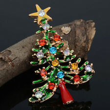 Brooch Enamel Gorgeous Rhinestone Crystal Christmas TreePin Holiday Party Gift T