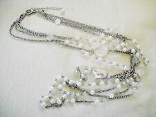 NEW 3-STRAND FAUX PEARL & FACETED FAUX CRYSTAL BEAD CHAIN-LINK NECKLACE