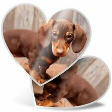 2 x Heart Stickers 7.5 cm - Cute Dachshund Puppy Dog  #2731