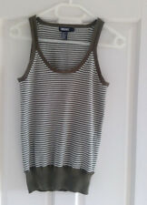 DKNY khaki and cream striped tank top - Size S