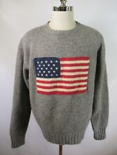 E8611 VTG POLO RALPH LAUREN US American Flag Lambswool Pullover Sweater Size XL