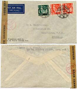AUSTRALIA STRATHFIELD WW2 NEI NETHERLANDS INDIES 1 AUG 1940 CENSORED DEV 2