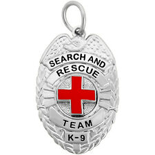 Search And Rescue Team K-9 - Dog Tag Badge - Silver