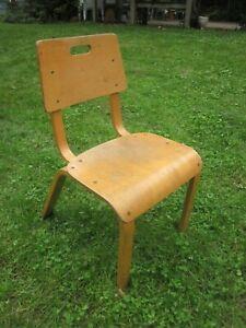 vintage Industrial wooden Child School Chair