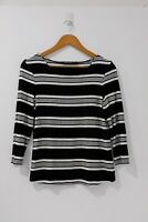 Sportscraft Women's Black White Striped Top Long Sleeve Crew Neck Size XS